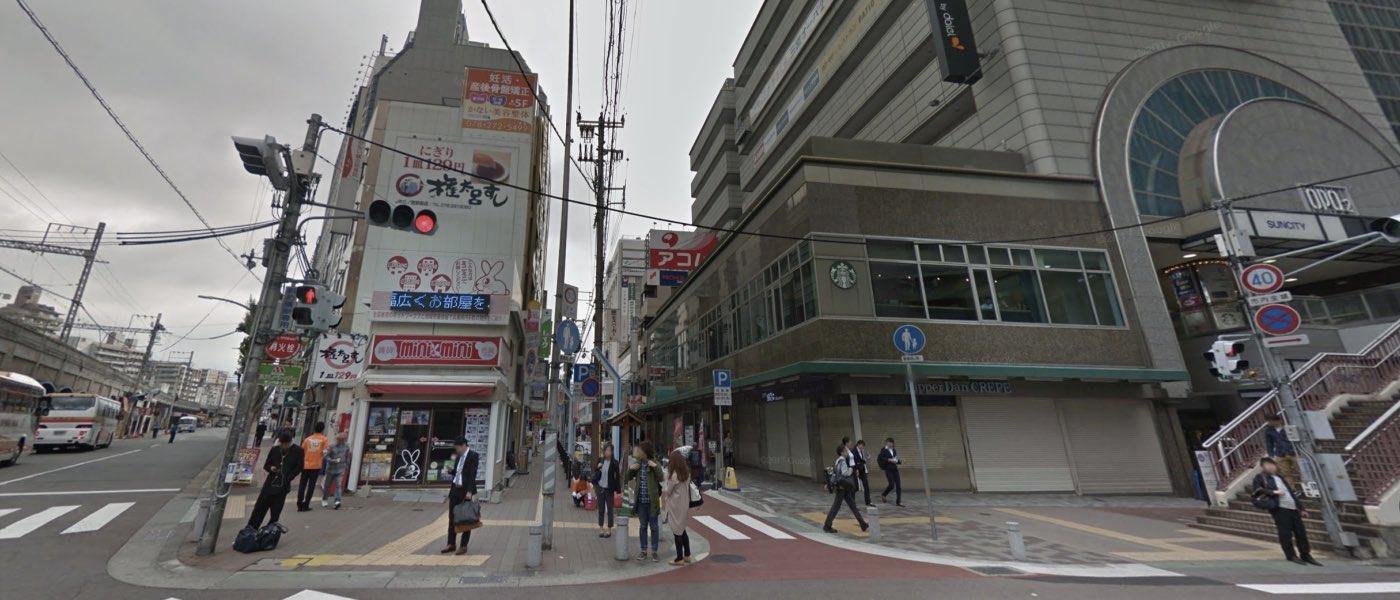 神戸校の道順写真 三宮あじさい通り商店街前交差点