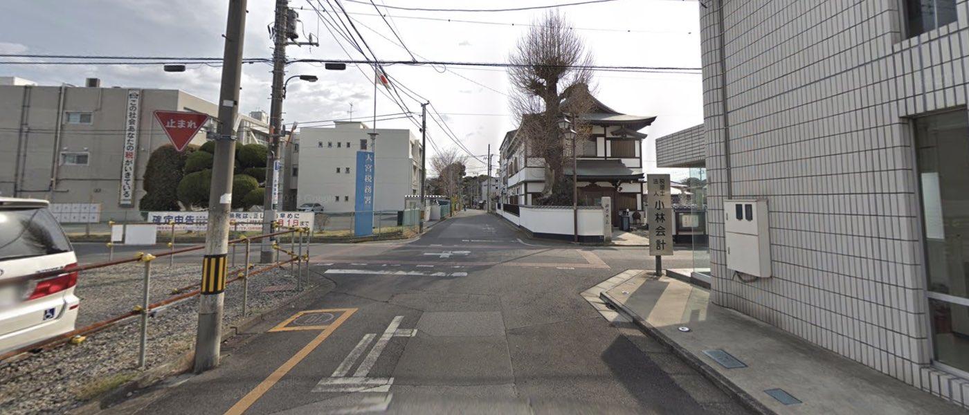 大宮校の道順写真 左折後一つ目の交差点で右折